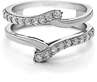 TwoBirch Brilliant Moissanite Mounted in Sterling Silver Bypass Ring Guard Enhancer (0.5ctw)