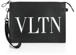 Valentino Leather Flat Handle Pouch