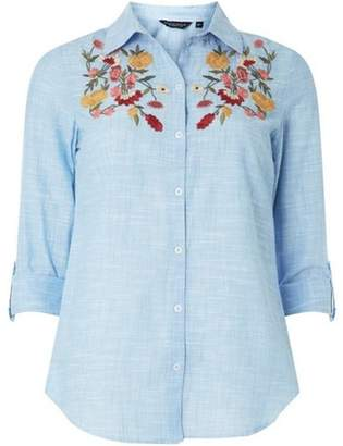 Dorothy Perkins Womens Blue Floral Embroidered Shirt