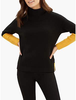 Jaeger Cashmere Colour Block Sweater, Black/Gold