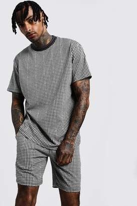 boohoo Step Hem Jacquard T-Shirt With Rib Collar