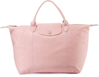 Longchamp Le Pliage Cuir Leather Handbag with Strap, Pink