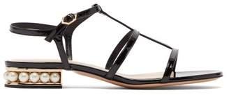 Nicholas Kirkwood Casati Pearl Heeled Patent Leather Sandals - Womens - Black