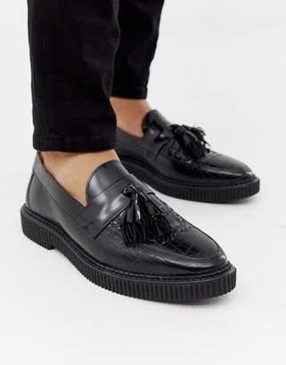 Kain Label House Of Hounds creeper tassel loafers in black croc