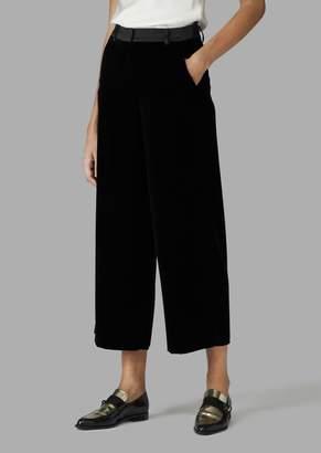 Giorgio Armani Cropped Velvet Trousers With Satin Detail