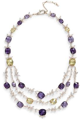Jenny Packham Crystal Layered Bib Necklace