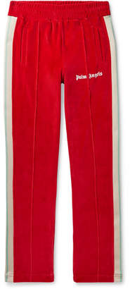 Slim-Fit Webbing-Trimmed Cotton-Blend Velvet Track Pants
