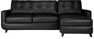 John Lewis & Partners Barbican Leather Sofa Bed RHF Chaise with Storage, Dark Leg