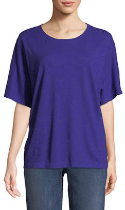 Eileen Fisher Short-Sleeve Hemp-Cotton Twist Top