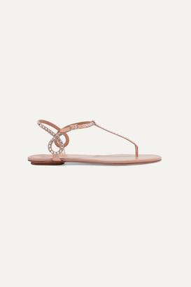 Aquazzura Almost Bare Crystal-embellished Leather Sandals - Neutral