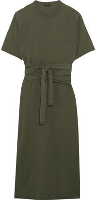 Joseph - Ivana Tie-front Cotton-jersey Midi Dress - Army green $325 thestylecure.com