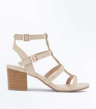 a20f910cafb New Look Brown Studded Block Heel Gladiator Sandals