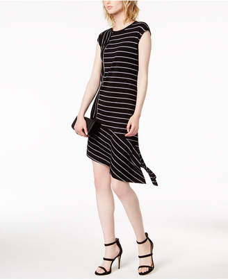 Bar III Striped Asymmetrical-Hem Shift Dress, Created for Macy's