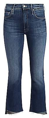 Mother Women's Insider High-Rise Crop Fray Jeans