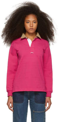 Noah NYC Pink Corduroy Collar Rugby Polo