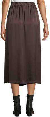 Vince Paneled Knot-Front Silk Midi Skirt