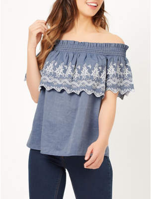 George Embroidered Bardot Blouse