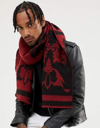 Asos Design DESIGN scarf black & burgundy jacquard