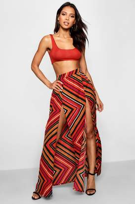 boohoo Chevron Scarf Print Woven Maxi Skirt