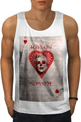 Monroe Wellcoda Heart Card Mens Tank Top, Marilyn Fit Lifestyle Sports Shirt S
