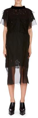 Sacai Lace Chiffon Short-Sleeve Dress