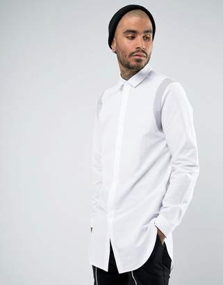 Asos Regular Fit Super Longline Shirt with Gray Contrast Tape