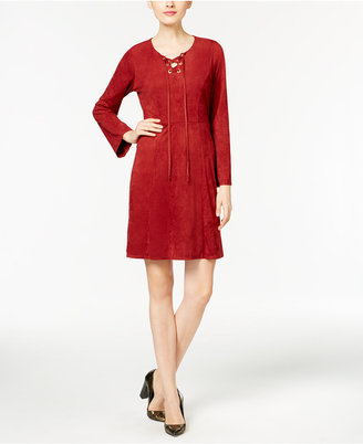 NY Collection Faux-Suede Lace-Up Fit & Flare Dress $70 thestylecure.com