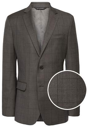 Banana Republic Slim Windowpane Italian Wool Suit Jacket