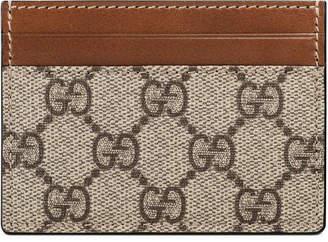 Gucci Card Case GG Supreme Mini Beige/Ebony Light Brown