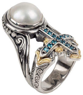 Konstantino Thalia Pearl & Blue Spinel Cross Ring, Size 7