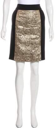 Magaschoni Jacquard-Trimmed Knee-Length Skirt