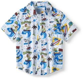 9ddc55b2d 365 Kids From Garanimals Short Sleeve Print Button Down Shirt (Little Boys  & Big Boys