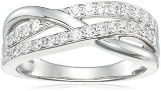 Swarovski Platinum Plated Sterling Silver Zirconia Round intertwined Ring