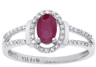 FINE JEWELRY Lead Glass-Filled Ruby and 1/8 CT. T.W. Diamond 10K White Gold Oval Ring