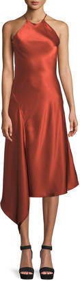 Alexis Lucy Draped Twill Halter Midi Dress