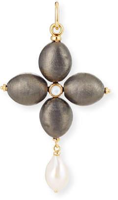 Silver Cross Grazia And Marica Vozza Black Charm with Pearl