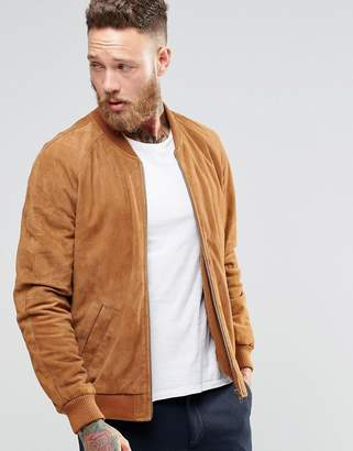 Asos Design Suede Bomber Jacket In Tan