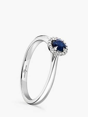 Brown & Newirth 18ct White Gold Round Sapphire and Diamond Cluster Engagement Ring, 0.28ct