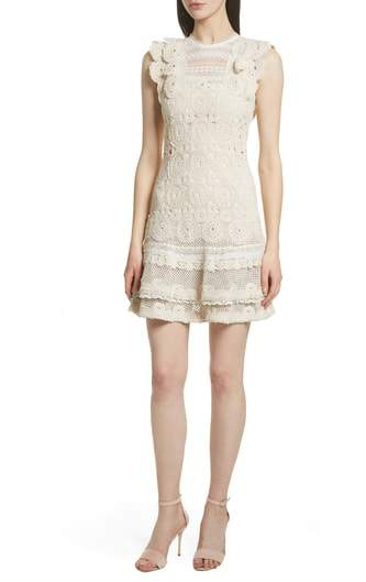 Ruffle Hem Macrame Dress