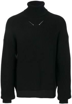 Oamc タートルネック リブセーター