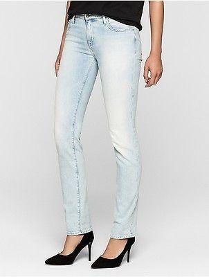 Calvin KleinCalvin Klein Womens Straight Leg Light Blue Jeans