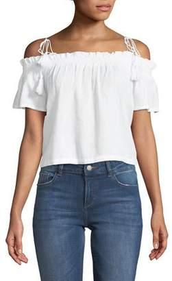 DL1961 Premium Denim Cornelia Off-the-Shoulder Linen Top