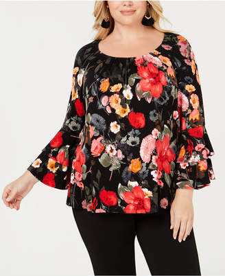 INC International Concepts I.n.c. Plus Size Bell-Sleeve Ruffle Top