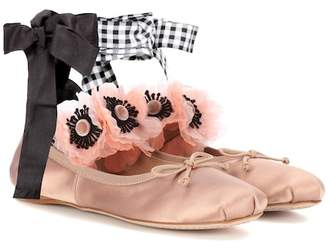 Embellished satin ballerinas
