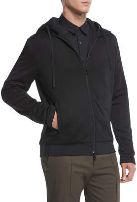 Vince Zip-Front Cotton-Blend Hoodie