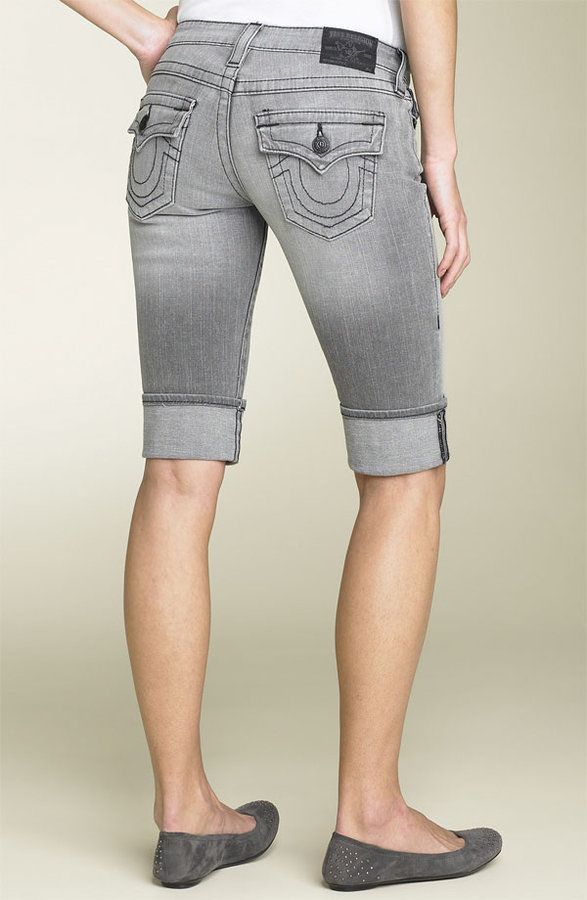 True Religion Brand Jeans 'Sophie Heritage' Stretch Denim Cuffed Shorts (Medium Lovestruck)