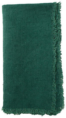 Canvas Set of 4 Fringed Linen Dinner Napkins - Green