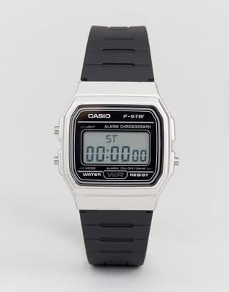 Casio F91WM-7A digital silicone strap watch in black/silver