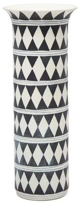 L'OBJET L'Objet Lobjet - Tribal Diamond Porcelain Vase - Blue White