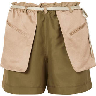 Valentino Layered Silk-crepe And Hammered-satin Shorts - Green